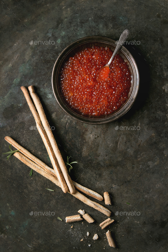 Bowl of red caviar - Stock Photo - Images