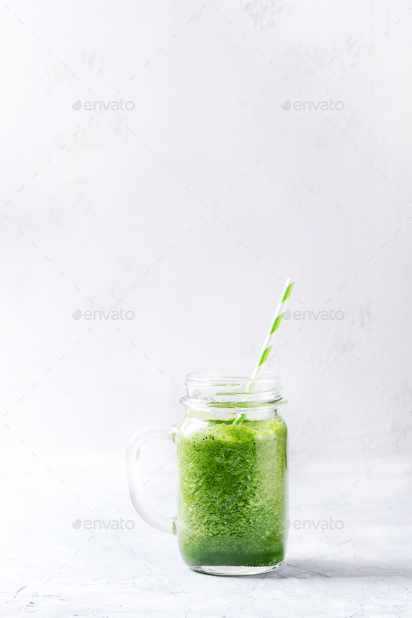 Jar of green smoothie - Stock Photo - Images