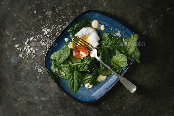 Poached egg with spinach - Stock Photo - Images