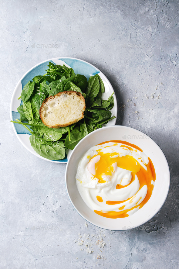Poached egg with yogurt - Stock Photo - Images