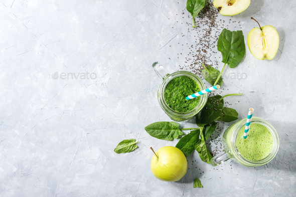 Variety of green smoothie - Stock Photo - Images