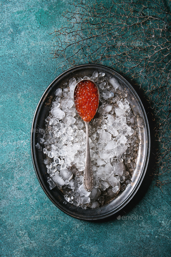Spoon of red caviar - Stock Photo - Images
