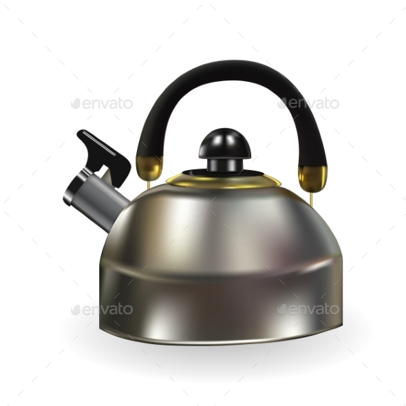 Naturalistic Silhouette of Teapot with Whistle - Miscellaneous Vectors