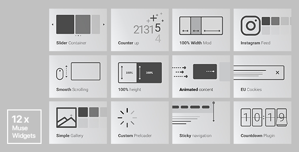 12x Adobe Muse Widgets by Rosea Themes