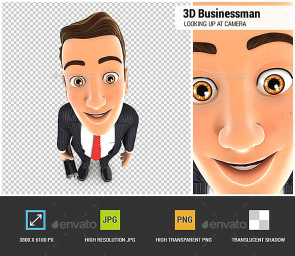 3D Businessman Standing and Looking Up at Camera - Characters 3D Renders