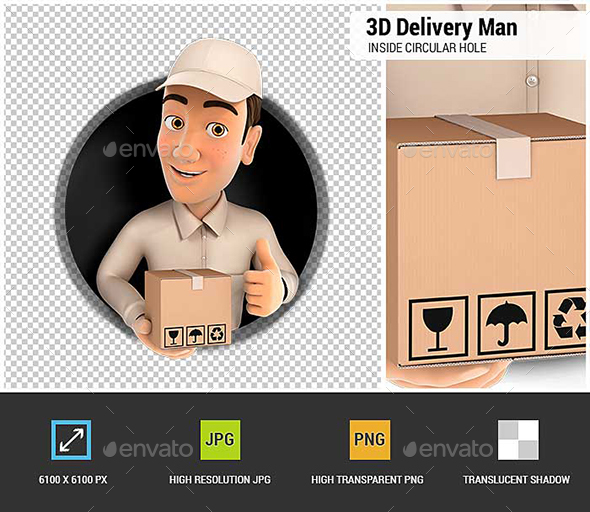 3D Delivery Man with Package and Thumb Up Inside Circular Hole - Characters 3D Renders
