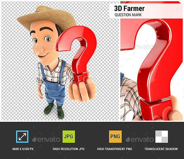 3D Farmer Holding a Question Mark Icon - Characters 3D Renders