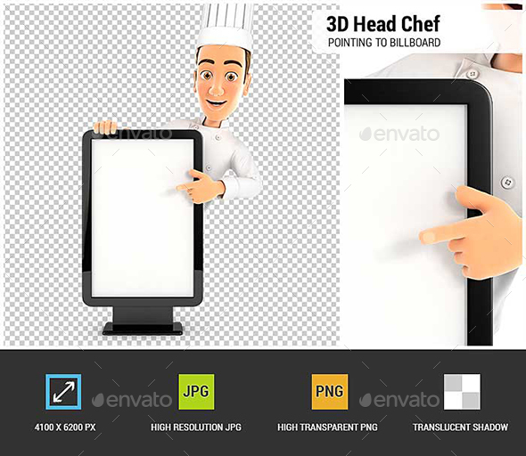 3D Head Chef Pointing to Blank Billboard - Characters 3D Renders