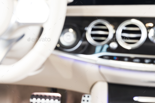 Blurred image of modern car interior - Stock Photo - Images