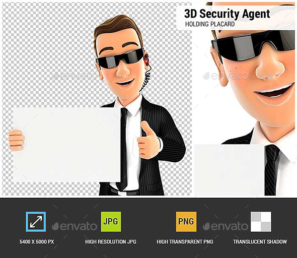 3D Security Agent Holding Placard with Thumb Up - Characters 3D Renders