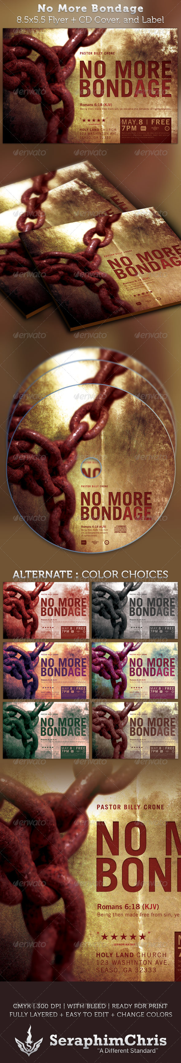 No More Bondage Half Page Flyer and CD Cover - Church Flyers