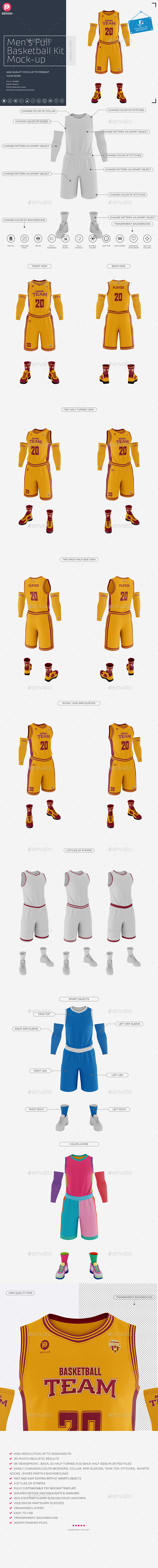 Men's Full Basketball Kit Crew-Neck Jersey Mock-Up - Miscellaneous Apparel