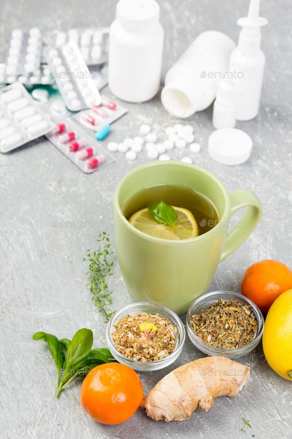 Natural medicine vs conventional medicine concept. - Stock Photo - Images