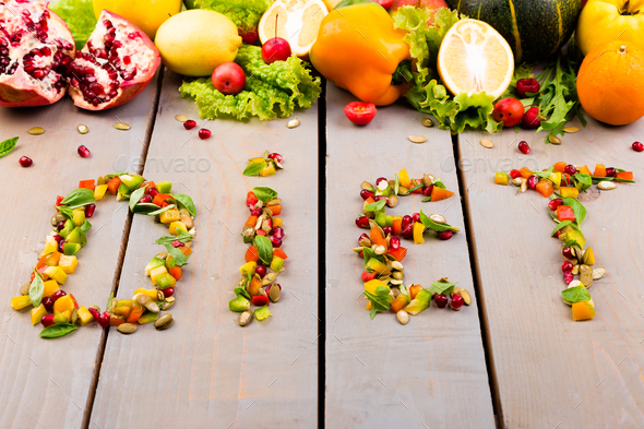 Word diet is made from fruite and vegetables. - Stock Photo - Images
