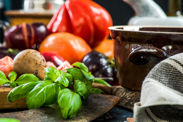 Ingredients for making fresh healthy tomatoes salad - Stock Photo - Images