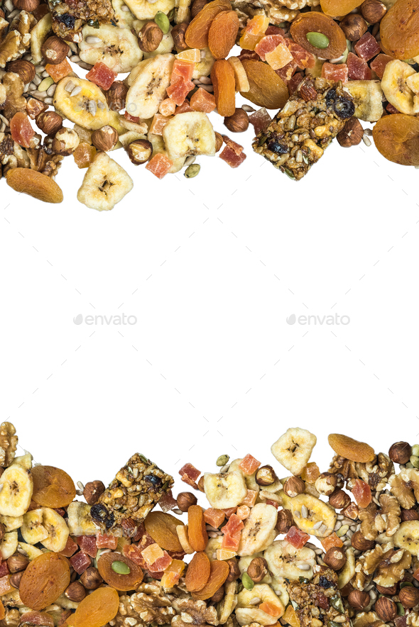 Healthy snacks, top view isolated on white - Stock Photo - Images
