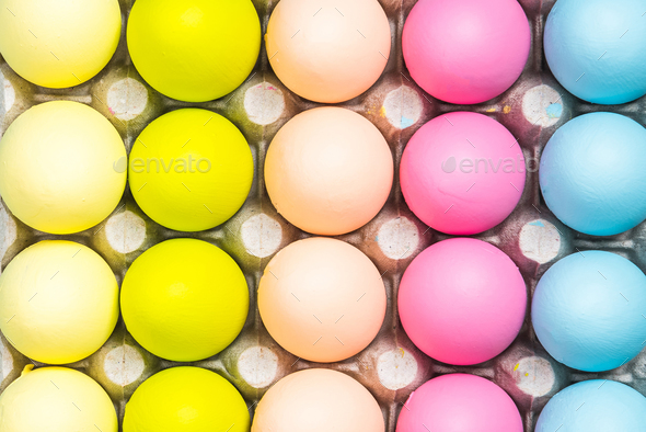 Colorful Easter Eggs close up view - Stock Photo - Images