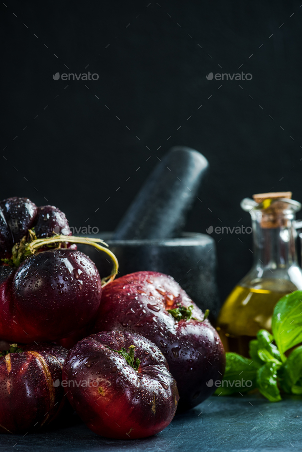 Dark ripe fresh Crimea tomatoes - Stock Photo - Images
