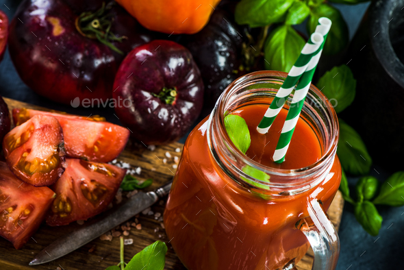 Homemade fresh tomato juice - Stock Photo - Images