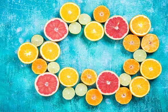 Fresh citrus halves border background - Stock Photo - Images