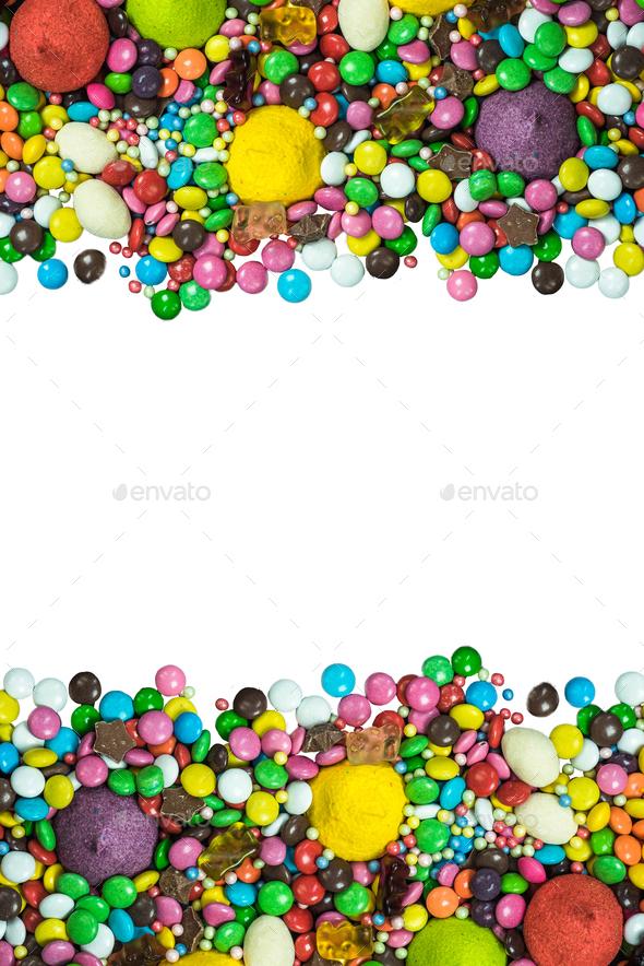 Vibrant sweets frame background isolated on white - Stock Photo - Images