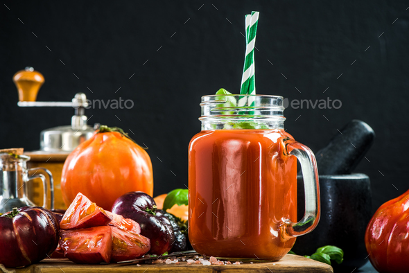 Jar full of healthy tomato juice - Stock Photo - Images
