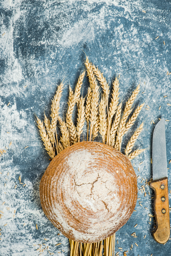 Traditional bread and wheat straw - Stock Photo - Images