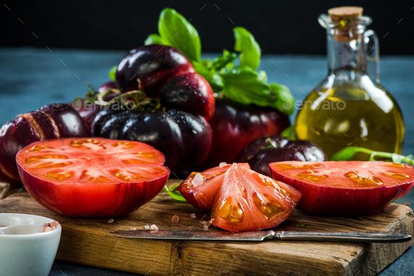 Crimea tomatoes halves for fresh salad - Stock Photo - Images