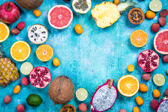 Exotic fruits, healthy eating concept copy space - Stock Photo - Images