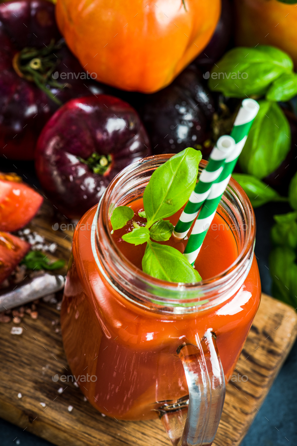 Jar with fresh homemade tomato juice - Stock Photo - Images