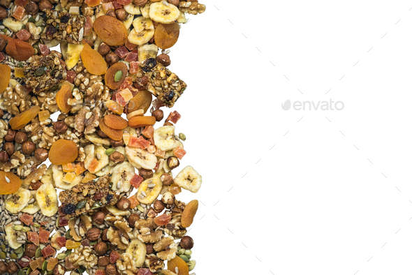 Dried fruits and nuts border background - Stock Photo - Images