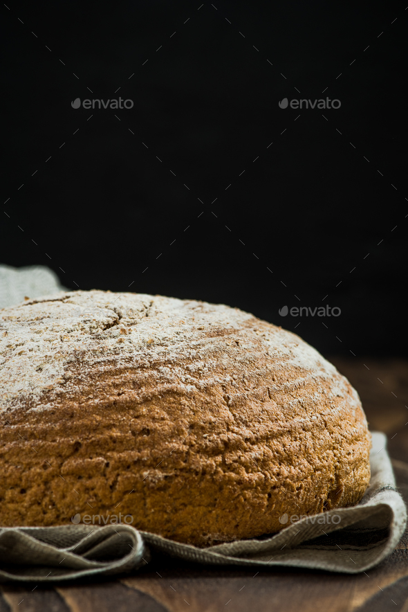 Freshly baked wholegrain healthy bread - Stock Photo - Images