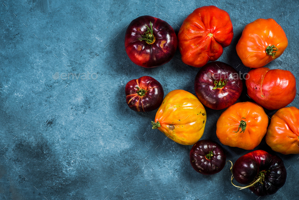 Ripe tomatoes border background - Stock Photo - Images