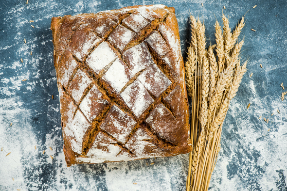 Loaf of homemade traditional bread - Stock Photo - Images