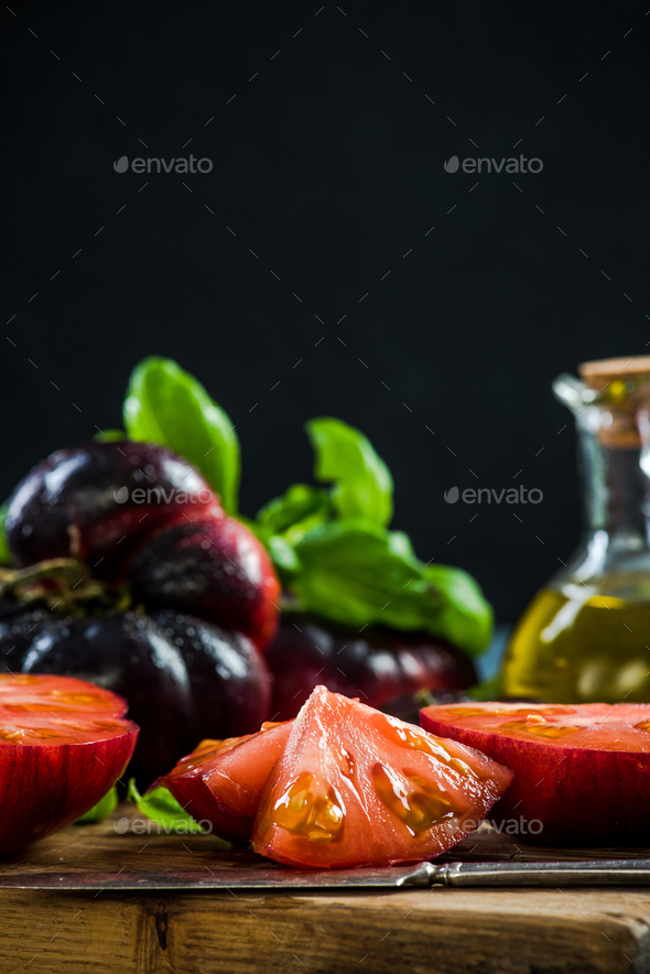 Crimea tomatoes halves for fresh salad - Stock Photo - Images