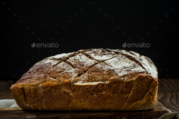 Loaf of bread still life, copy space - Stock Photo - Images