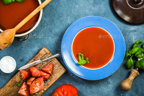 Healthy eating, fresh creamy gazpacho or tomato soup - Stock Photo - Images