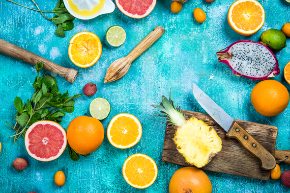 Ingredients for fresh exotic juice - Stock Photo - Images