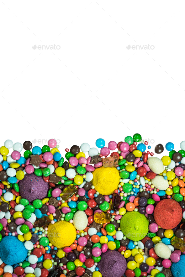 Vibrant sweets frame background isolated on white - Stock Photo - Images