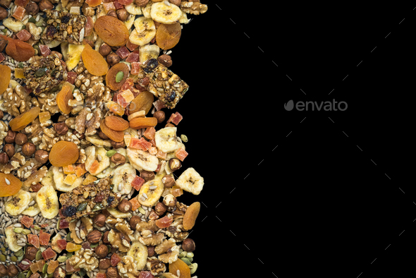 Dried fruits and nuts isolated on black - Stock Photo - Images