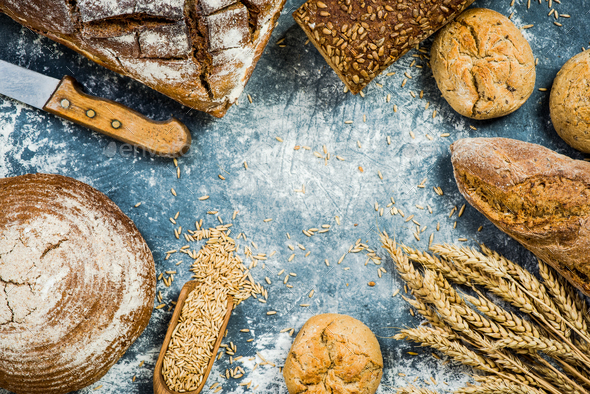 Bakery breads frame background - Stock Photo - Images