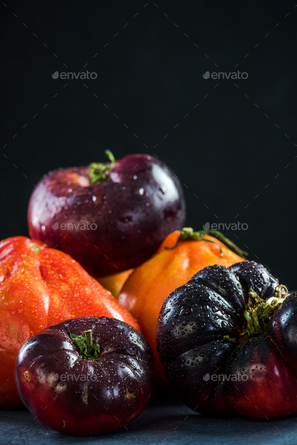 Close up on market fresh and ripe tomatoes - Stock Photo - Images
