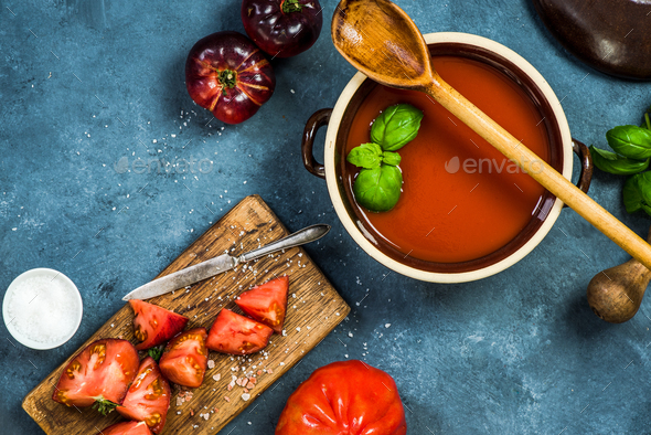 Ingredients for perfect gazpacho or tomato soup - Stock Photo - Images