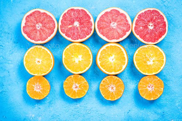 Citrus fruits halves flat lay - Stock Photo - Images