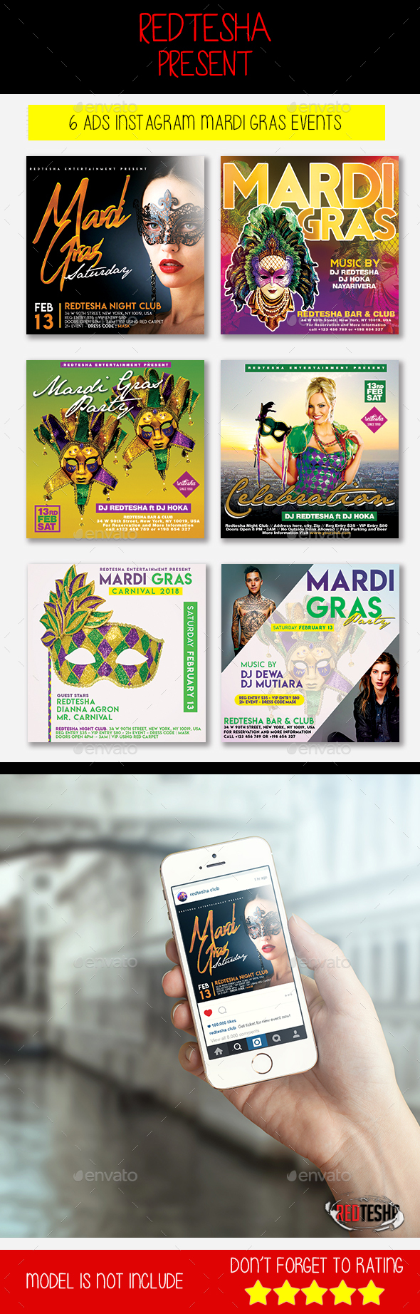 Mardi Gras Instagram - Banners & Ads Web Elements