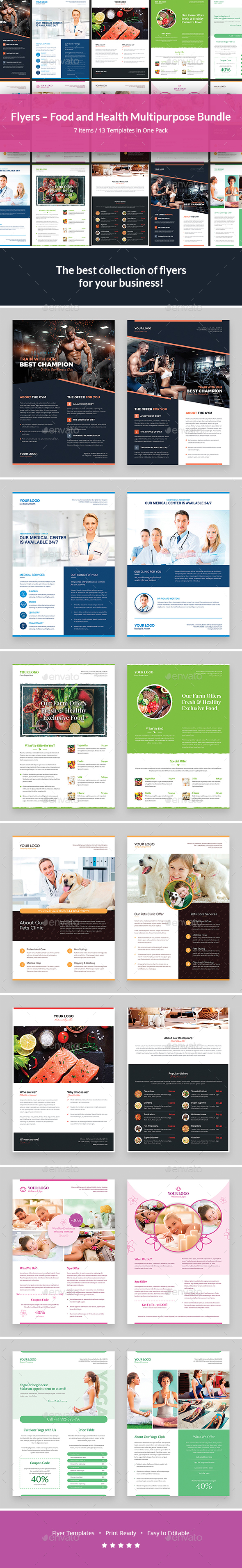 Flyers – Food and Health Multipurpose Bundle 7 in 1 - Corporate Flyers