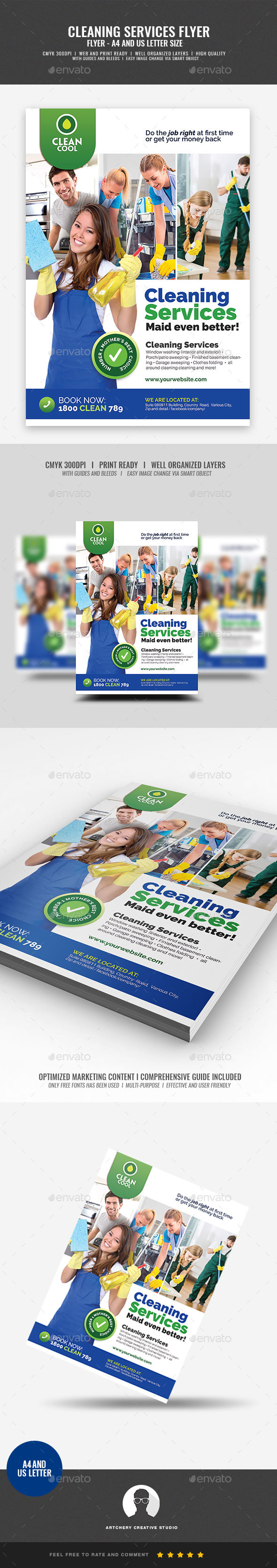 Household Cleaning Service Company Flyer - Corporate Flyers