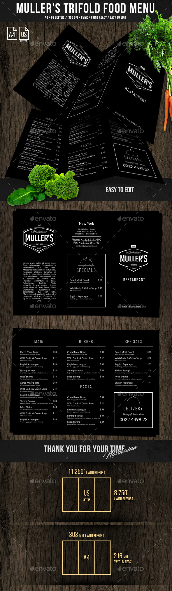 Muller's Trifold A4 & US Letter Menu - Food Menus Print Templates