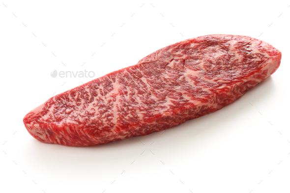 raw wagyu beaf, Japanese food isolated on white background - Stock Photo - Images