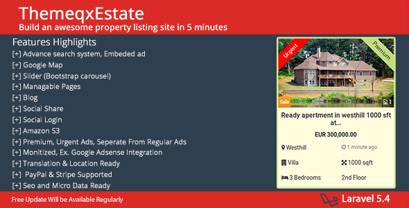 ThemeqxEstate - Laravel Real Estate Property Listing Portal - CodeCanyon Item for Sale